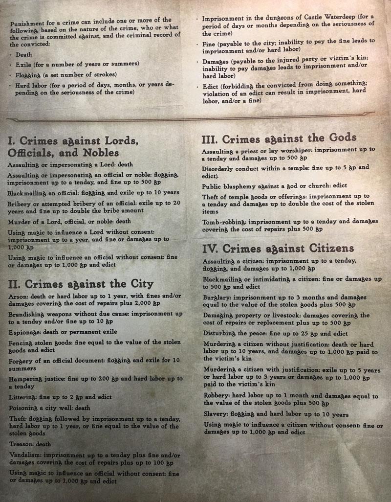 Waterdeep Code Legal