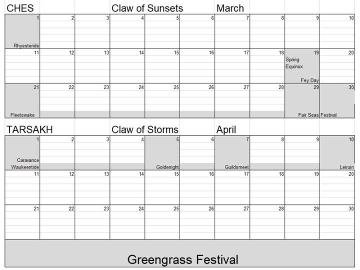 Calendar Faerun