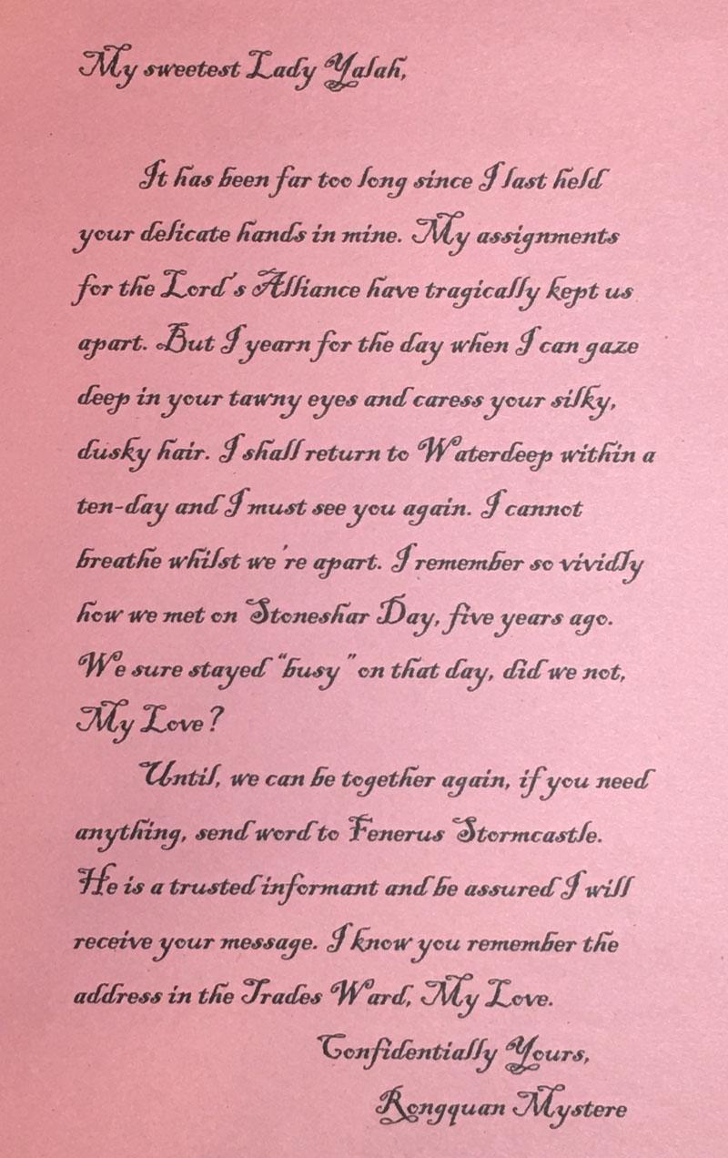 Jarlaxle Love Letter